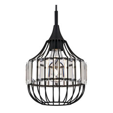 """Westinghouse 6363100 Single Light 8"""" Wide Cage Mini Pendant with Crystal Prism"""