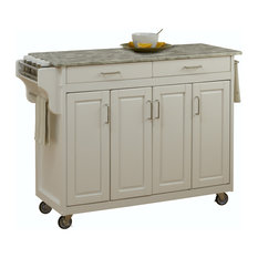 Home Styles Furniture   Tiberius Cuisine Cart, White, Concrete Top   Kitchen  Islands And