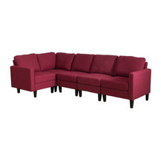 GDF Studio Bridger Deep Red Fabric Sectional Couch