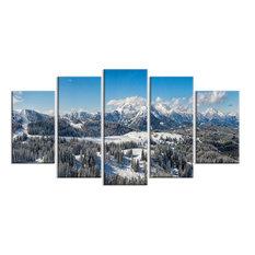 """Austrian Alps Winter Panorama"" Metal Wall Art, 5 Panels, 60""x32"""