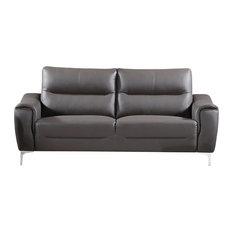 AC Pacific - Rachel Leather and Fabric Upholstered Stationary Living Room Sofa, Gray - Sofas