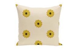 "Sunflower Frenzy Flower Print Pillow, Off White, 26""x26"""