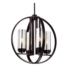 4-Light Antique Bronze Rustic Globe Orb Cage Chandelier With Amber Sconces