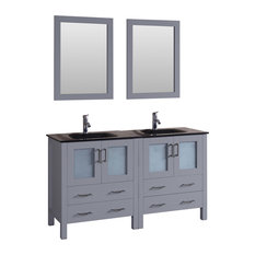 """60"""" Double Vanity With Tempered Glass Top Gray"""