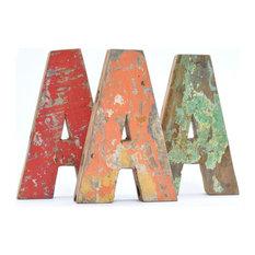 - Letras de madera reciclada - letra A - Letras para la pared
