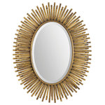 Renwil - Renwil Sparta Mirror, Antique Gold - A great golden fringe frame surrounds a beveled oval mirror. Made from metal and MDF with a stunning antique gold leaf finish.