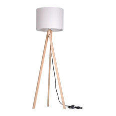 yeshom tripod floor lamp cotton lampshade with wood color oak stand wood original