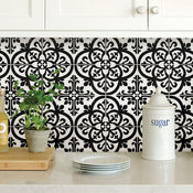 Wallpops Avignon Black and White Peel and Stick Backsplash Tile, Pack of 4