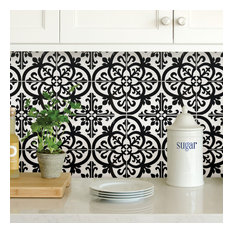 Wallpops Avignon Black and White Peel and Stick Backsplash Tile, Pack of 4