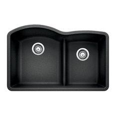 """Blanco 441590 32""""x20.8"""" Granite Double Undermount Kitchen Sink, Anthracite"""