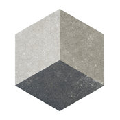 "8.63""x9.88"" Trafico Hex Porcelain Floor/Wall Tiles, Set of 25, 3d Gray"
