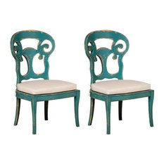 Verona Club Side Chairs, Crossroads Cyan