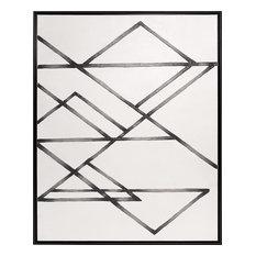 HOWARD ELLIOTT TRINITY Wall Art Pearlized White Painted Black Canvas