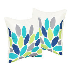 "GDF Studio Grace Outdoor Leaf Pattern 17.75"" Square Cushion, Set of 2"