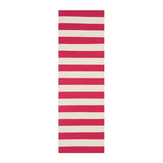 La Paz Flatweave Stair Runner, Red and Ivory