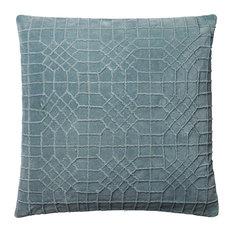 Loloi Cotton Velvet Accent Pillow, Light Blue, 22  x22