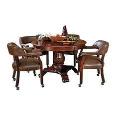 Steve Silver Company   Steve Silver Tournament 5 Piece Game Table Set In  Cherry
