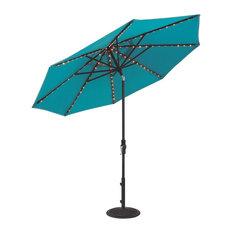9' Tilt and Crank Light Up Octagon Sunbrella Umbrella, Granite Stripe