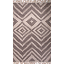 Southwestern Outdoor Rugs Tribal-Pattern Polyester Taupe/Ivory Indoor-Outdoor Area Rug
