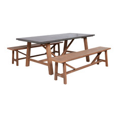 Amalfi Cement Outdoor Dining Set With 2-Wood Benches