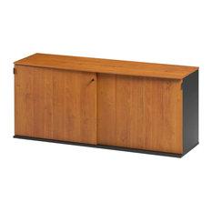 Jazz Wood Storage Cabinet With Sliding Doors, Alder Finish