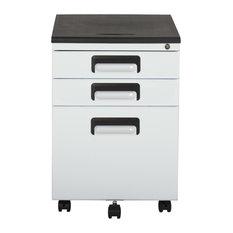 Calico Designs 3 Drawer Metal Rolling File Cabinet w/Locking Drawers,White/Black