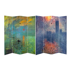6' Tall Double Sided Works of Monet Canvas Room Divider