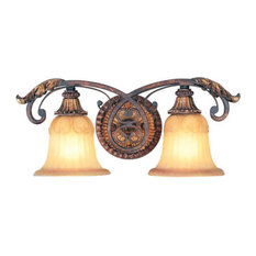 2-Light Verona Bronze With Aged Gold Leaf Accents Bath