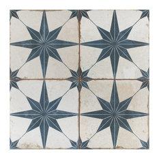 """17.63""""x17.63"""" Royals Estrella Ceramic Floor and Wall Tile, Set of 5, Blue"""