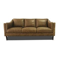 Genuine Italian Leather Sofa in Bomber Tan