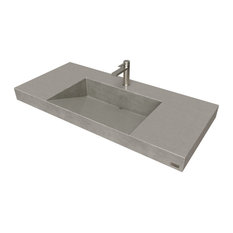 "40"" Contempo Floating Concrete Ramp Sink, Charcoal"