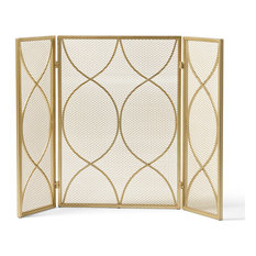 Laylah Modern 3-Panel Iron Fire Screen, Gold Finish