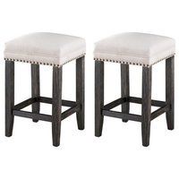 Coast To Coast Set Of 2 Counter Height Barstools In Black And Brown 48131