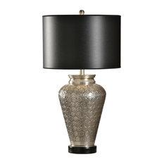 Table Lamp WILDWOOD HOME 1-Light Silver White Shade Brass Linen