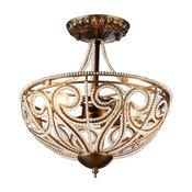 Warehouse of Tiffany 3-Light Chandelier, Dark Bronze Finish
