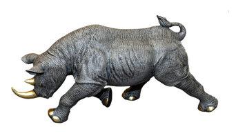 """Black Rhinoceros"" Bronze Figurine Sculpture"