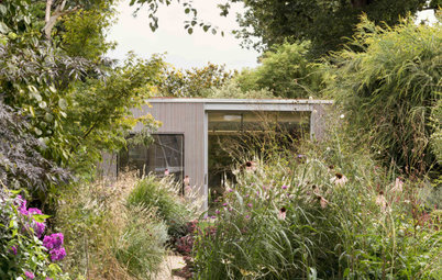 Contemporary Backyard Cottage in a Soft, Naturalistic Garden