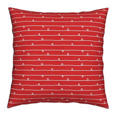 Small White Stripes & Loops Hand Drawn Red Striped Throw Pillow, Velvet