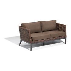 Salino Woven Sofa, Resin Wicker Sable, Toast Polyester