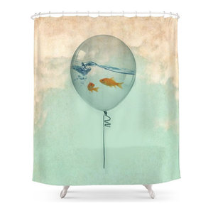 "Golden Fish Swimming In Lotus Pond Bathroom Shower Curtain Fabric w//12 Hooks 71/"""