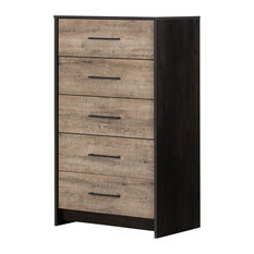 Londen 5-Drawer Chest, Weathered Oak and Ebony