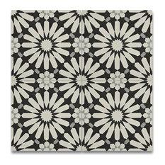 "MOD - 8""x8"" Black and White Cement Algar Handmade Tiles, Set of 12 - Wall and Floor Tile"