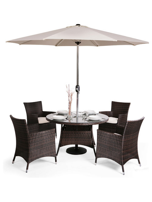 4 seater rattan weave garden furniture set mixed brown asha marlborough