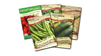Garden Vegetable Seed Packets Corn, Bean, Cucumber, Lettuce, and Tomato