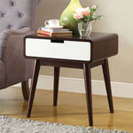 Christa End Table Espresso Amp White Midcentury Side