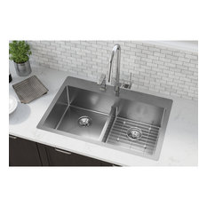 """ECTSRA33229TBG1 Crosstown Stainless Steel 33"""" Sink Kit with Aqua Divide 1 Hole"""