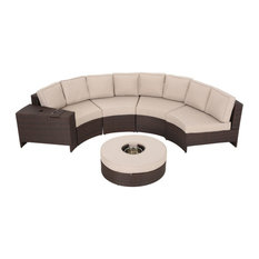Outdoor 4-Seat Wicker Curved Set With Ottoman, Beige, Ice Bucket Ottoman
