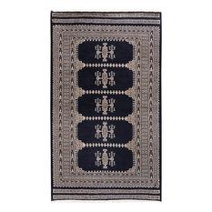 "ALRUG Handmade Navy Blue Oriental  Jaldar Rug, 3'2""x5'3"""
