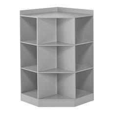 RiverRidge Home Kids 6-Cubby, 3-Shelf Corner Cabinet, Gray
