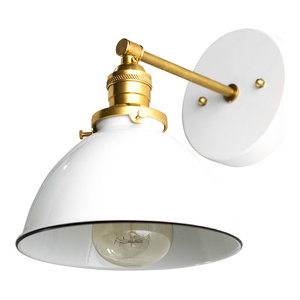 White and Raw Brass Modern Industrial Wall Sconce